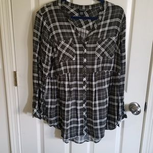 Torrid green plaid challis babydoll tunic